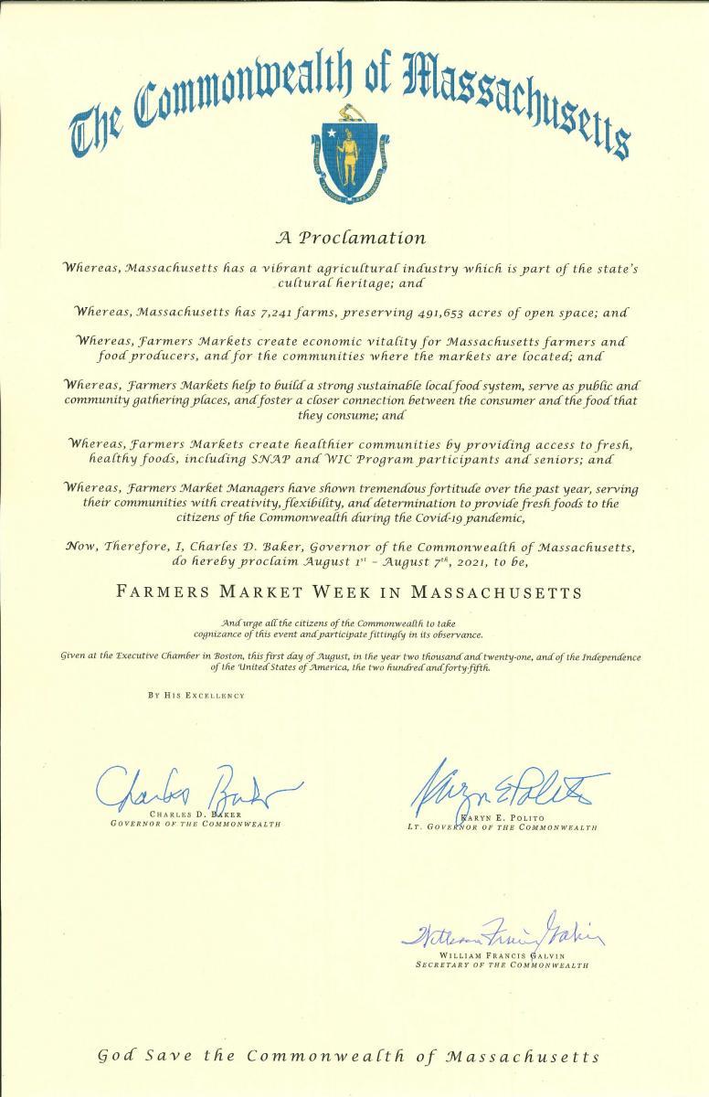 Governor Baker signs Farmer's market Declaration